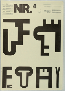 At upper left center in large black block leters, NR.4. Below, poster design consists of six extremly large black block letter groups joined so as to form logos or trademarks. The letter combinations are: combined letters T,F,J; E,F,J,T; F,N; C,U; F,H,A; V,I   At upper left a text block describing the projects described above and at upper left the educational agenda from the School of Design, Basel that was the basis for the poster series.