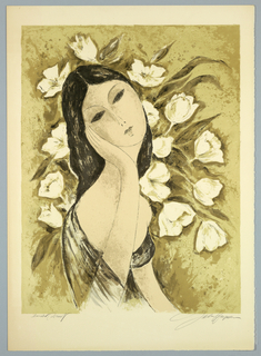 Print, Girl with Tulips