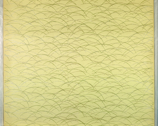 Embossed cream-color paper, printed with intersecting green and white mica arches.