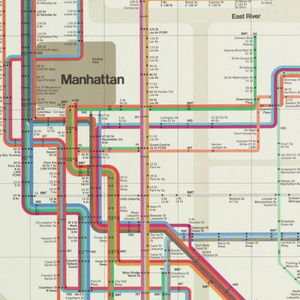 Vertical format New York City subway transit map depicting subway lines throughout the borroughs of Manhattan, The Bronx, Queens, and Brooklyn. Legend contained within horizontal margin at top. Rivers and bays indicated in light tan, land indicated in white, major parks indicated in brown. Compass at lower left.