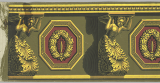 "Yellow consoles in the form of winged putti with acanthus bases support a cornice. Alternating with these figures are vertical octagons, green, yellow and red, containing wreaths. Heavy chiaroscuro. ""d"" and ""e"" are incomplete repeats."