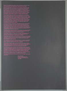 Vertical rectangle. Silver background with printed pink text aligned at left. Text written by curator of contemporary art at the Metropolitan Museum of Art Henry Geldzahler, describing the New York City Center, Albert A. List Art Poster Program, and each of the seven posters commissioned by the program to commemmorate the 25th anniversary of the New York City Center (designed by Richard Anuszkiewicz, Jim Dine, Robert Indiana, Gerald Laing, Lowell Nesbitt, George Segal, and Jack Youngerman).