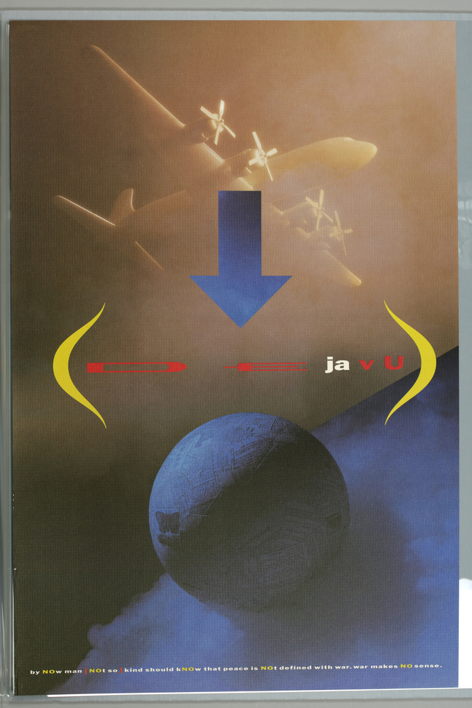 """Vertical format, composition made up of tyopography and photoillustrated imagery. A gradient blue arrow at upper center points down to printed text, in red and white, spelling out """"De ja vu,"""" framed by two yellow parentheses. At top, a hazy view of a propeller airplane in a light brown color above a blue gradient sphere at bottom, itself against the surface of a much larger - partically depicted - blue gradient sphere. Sphere at bottom covered in strips of newspaper, suggesting papier mache. At left of the sphere, an applied butterfly sticker. Printed text in white, yellow, and red at bottom."""