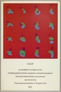 Poster design consists of a photographic reproduction of one of Ferd Troller's paintings on a white sheet with dark grayt text below. The painting consists of vivid blue, green and purple curved and circular shapes that seem to float on a saturated red ground.  A penciled signature is visible on the image lower left.. With a center justification below the text: COLOR / an exhibition of original work / of distinguished artists, designers and photographers / from the United Statesand abroad / sponsored by / The American Institute of Graphic Arts.
