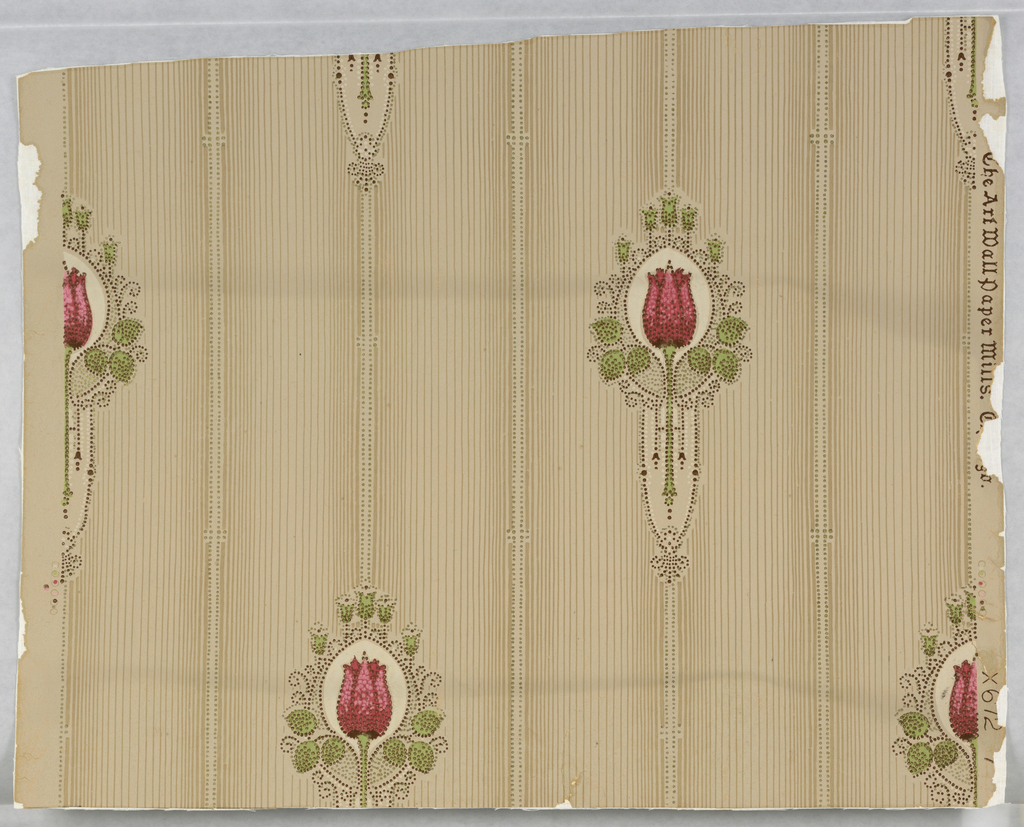 Graded vertical lines spaced with vertical dotted bands. The latter are broken at intervals by motif of simple pink rose surrounded by green leaves and pin dot decoration. Roses are in drop repeating relationship. Drop match. Printed in five colors and gold on neutral ground.