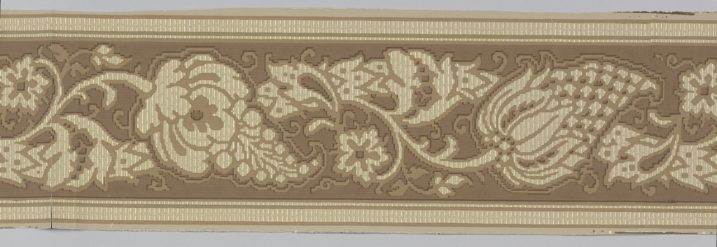 Wide central band of vining floral and foliate motifs printed to simulate embroidery, centered between architectural moldings above and below. Printed on vertically striped background.