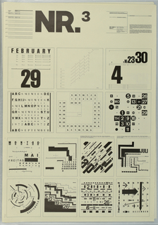 At upper left center in large black block leters, NR.3. Below, fourteen concepts for calerdar designs. Upper portion of poster divided into six squares. Each design uses an unconventional application of black and white and large and small fonts and numerals. Lower portion is divided into eight squares where each design is a complete month. At upper left a text block describing the projects described above and at upper left the educational agenda from the School of Design, Basel that was the basis for the poster series.