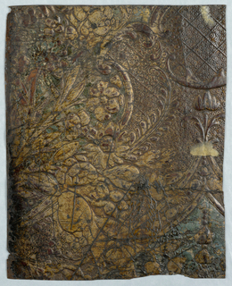 On weave-textured ground, gold leaves and flowers.