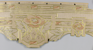 Floral medallion with raised metallic gold outline. Hole punches along top edge..