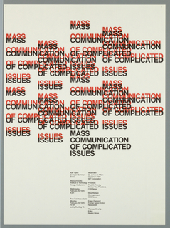 The title, Mass Communication of Complicated Issues, is repeated in overlapping black and red block text against a white background. At lower center two columns of text give information on the seminar and participants.
