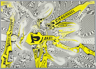 A liquid-like biomorphic allover pattern in white and yellow with black spots and black text: PLAKATE; SCHULE FUR GESTALTUNG BERN.