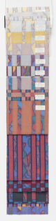 """Sample book with a photograph on the cover showing two lengths of """"Borneo"""" draped. The book contains samples of """"Borneo"""" and """"Java"""", seven colorways of each pattern."""