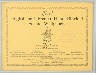 a) Sixteen page advertising booklet printed on yellow paper, picturing and describing 18 different scenic wallpapers imported by Lloyd and 4 screens. b) Sixteen page advertising booklet printed on orange-yellow paper, picturing and describing 19 different scenic wallpapers imported by Lloyd.