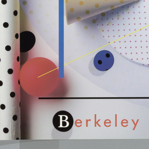 Poster depicts several different polka-dotted patterns in various configurations. At left edge white vertical rolls with black polka dots. A large 'B' made up of 'cut out' circles with polka dots, peach colored polka dotted cones, orange spheres, blue dots with black polka dots layered over another larger sphere with polka dots. Below, text in black and orange: Berkeley Typographers