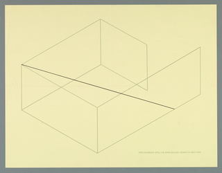Art exhibition poster with recto, printed in gray and black lines, showing a geometric, isometic drawing of four walls (outlined in gray lines) that avoid closure; black line diagonal spans the space from floor to ceiling levels.  This poster diagrams the artist's installation.