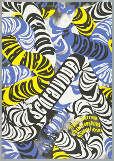 Intertwined snake-like tubes in blue, yellow, and black with text: Schraivogel / Plakaty / Design Centrum / Ceske republiky / Radricha, Brno.