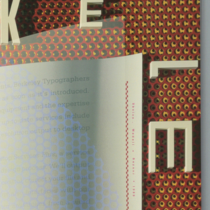 An open booklet in white with a large green shadow of a 'B' made up of a perforated design at left; right side covered in red text that reads: Now / Berkeley Typographers can [information….]. Brick color and tan perforated background with text in white across the top and right side: BERKELEY / TYPE