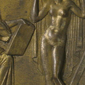 Polygon with straight lower edge, with repoussé decoration showing Venus, with veil over her head, posing for a drawing done by a woman to the left, and a painting by a woman to the right.