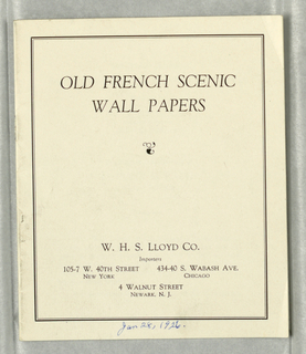 "Pamphlet, ""Old French Scenic Wallpapers"", pamphlet, 1936"