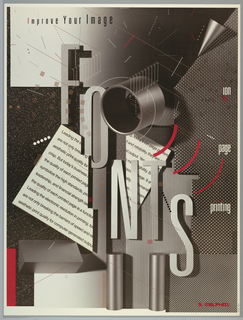 Poster in grays, black, and white with fuchsia depicts an advertisement for Delphax Ion Page Printing. Upper left margin, in black: Improve Your Image; in large block letters in grays, with shadows: FONTS. Left side box in black with white specks, gradient grays in center, area of black and white textured box on right and below, striped area lower center; two metallic cylinders at the bottom and at left and 3D triangle in gray. Behind central design is a white card with black text; above this a hollow cylinder. Fuchsia arcs at center and a box at lower left. In fuchsia, lower right: DELPHAX [logo].