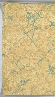 Simulates marble-veined in putty-grays and greens. Mounted on muslin.