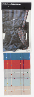 "Sample book with a photograph on the cover of a draped length of ""Traffic"". Book contains six colorways of ""Traffic""."