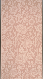 Large-scale stylized pinks and roses on long stems, in an assymetrical design. Design shown in reserve ground color, printed in purple on orange ground.