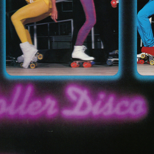 Horizontal rectangle with black ground. At top and bottom, printed purple text in the style of neon lighting, a roller skate in blue and pink at upper left. At center, three vertical color photoillustrations with glowing blue borders and rounded edges. Each shows a group of three figures on roller skates in leotards, tights, and costumes.