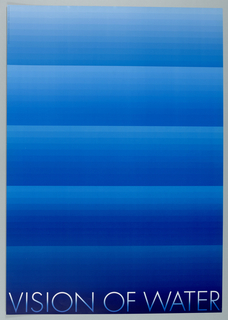 Printed at bottom: VISION OF WATER. Horizontal blue lines of progressing light to darker tones.