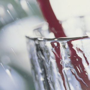 Photograph of a glass with two toothbrushes; Japanese text.