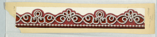 Narrow border, with very ornate strung bead and honeycomb lace design. Printed in grisaille and red flock on white ground. Passementerie or fancy gimp, printed three across.