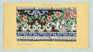 Design consists of three bands of varied patterns. Along the wide central band, flowers overlap rococo architectural molding. The upper edging contains a band of stylized linear scroll foliage under a series of small architectural ornaments, and the lower edging is a continuous, banded rod. Printed in blue, green, pink, red, olive, gray and white on a brown background.