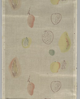 Fruit, in shades of red and green, and some with just black outlines. Printed on embossed tan ground, imitating burlap.