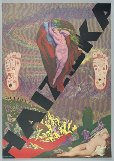 """Poster with text: """"HAIZUKA"""" in large black letters at angle from lower-left corner to upper-right corner. Reclining figure from Titian lower right corner, Naked Man and Woman from Dore hovering at center with images of feet on either side. Background of trains of Angels."""