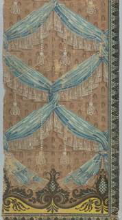 a,b) On brown ground, alternating small brown stylized flowers and leaves overlaid with blue gathered fabric with white lace edging imitating drapery twists into a diaper pattern; strung pearl tassels loop around fabric; on left, a small vertical foliated border in shades of blue-black, blue, and tan; on bottom, a larger anthemion-style border in shades of blue-black, blue, and yellow; c) border - on dark brown ground between color bands of tan, yellow, and orange, a foliated vine in shades of orange, blue, light blue, and yellow.