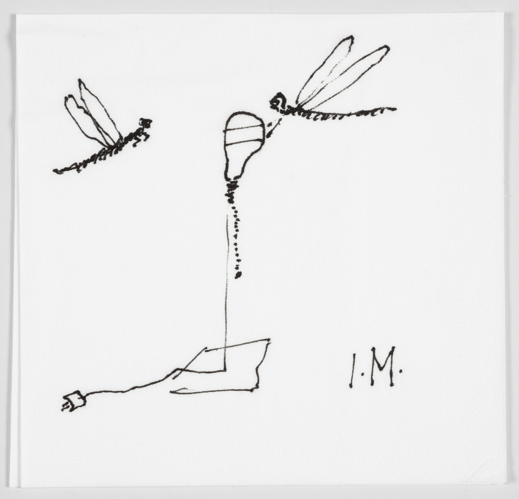 Sketch in black for a table lamp with square base and electric plug.  Features a single stem emerging from the base with a bulb on which there is a dragonfly.  Another dragonfly appears to the left of the lamp.