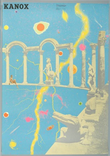 """Blue poster with mages of columns and statues in gray running horizontally across middle and down right side. Behind columns and statues, many multicolored planets and galaxies and a bolt of yellow lightning extend from right-center top to left-center bottom. Text in black at top left reads: """"Kanox"""""""