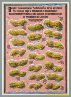 On a pink bachground bordered with blue, red, purple and yellow stripes, twenty-one photographic images of peanuts are arranged in three rows.  They are colored yellow and orange and are interspersed with drawings of small gray elephants and tiny red hearts. The name of the fashion designer, KRIZIA, is also scattered throughout the design.  Across the top of the sheet black text advertises the event at the Museum of Natural History.