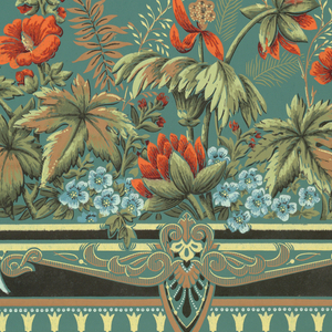Large rectangular framework, wide band of brightly colored flowers across bottom of shade. Printed on green paper.