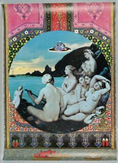 """Central image of women taken from """"The Turkish Bath"""" by Ingres, located within a circle, at the top of which hovers a UFO, with ocean and cliffs in the background. Circle superimposed on Arabesque designs in pink, red, yellow, orange and blue."""
