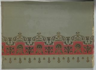Two stylized floral  motifs, printed in black with gold outlining, alternating on red band across one end of shade. Other motifs, also in black and gold, appear above and below this red band. Printed on a green shade.