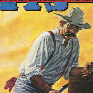 In a landscape with setting sun on field made up of blue jeans, a farmer in Levi's clothing is scything standing jeans that act like stalks. Behind him two men with a wagon full of jeans. Across the top in blue and red: LEVI'S / WE PUT A LITTLE BLUE JEAN IN EVERYTHING WE MAKE.