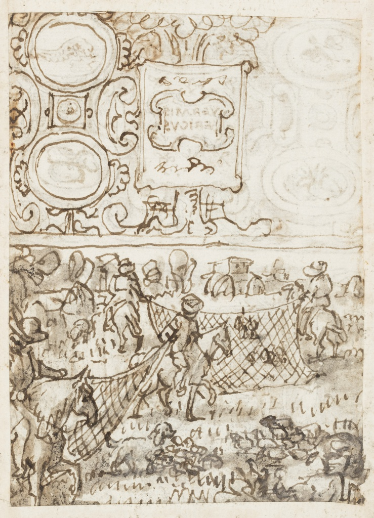 """Recto, top: Title page design, with the title """"VERMIS SERICUS"""".  Surrounded by representations of moths, on drapery in the center. At four corners, in ovals, the silkworm, cocoon, and moth.  Foliage (and berry tree) in background. Scrolls terminate composition at left and right.  Bottom:  Interior with two women sewing in center of composition.  A girl stands behind them at left, and another seated at right.  Top verso: Incomplete design for title page related to top recto and a partial tracing of it."""