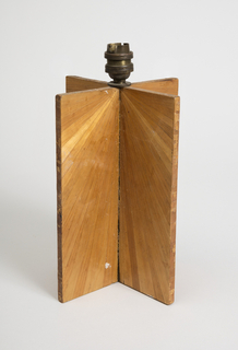 Wooden lamp base covered with split straw