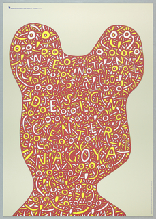 """Poster for International Design Center in Nagoya.  Large red irregular shape resembling shape of girls head with two hair buns on sides.  Inside, yellow and white rectangular fragments and circles scatterd with the text """"INTERNATIONAL/ DESIGN/ CENTER/ NAGOYA"""" floating in the midst.  This poster uses play on optical illusion."""