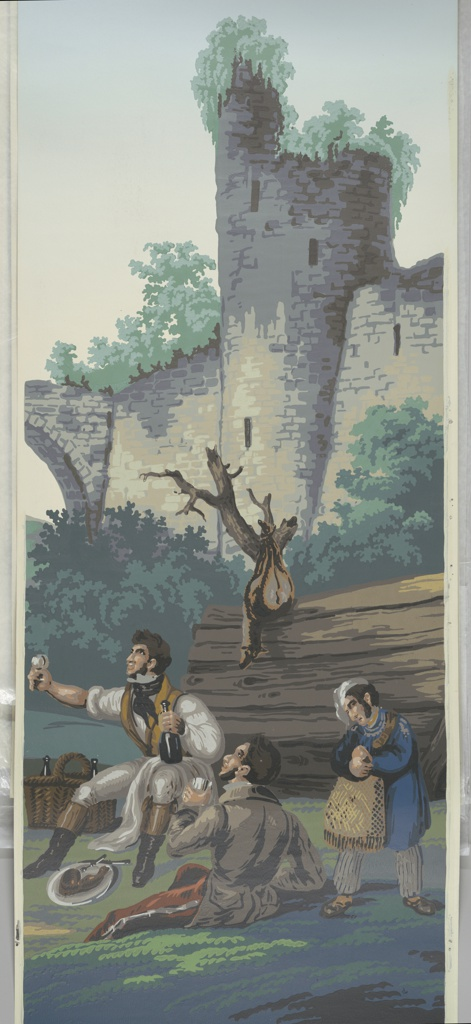Modern printing from woodblocks after the 1831 design by Deltil. The colored scenic is composed of 4 scenes: Stag hunting, wild fowling, hare and partridge shooting, and wild boar hunting.