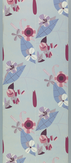 Multi-colored stylized flower forms with large blue leaves on light blue ground.