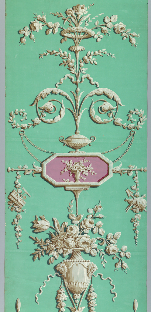 Two identical panels, produced by Reveillon. Two arabesque designs with personification of Spring printed in grisaille with pink inset cameos. Rose bouquet-filled vessels fitted with satyr's mask handles. Printed on turquoise ground.