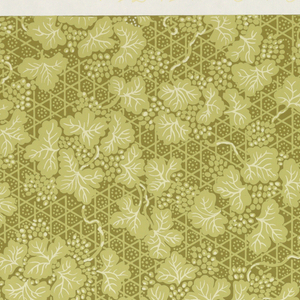 Small ivy or grape vine on trellis design. Printed in light yellow on a green ground.