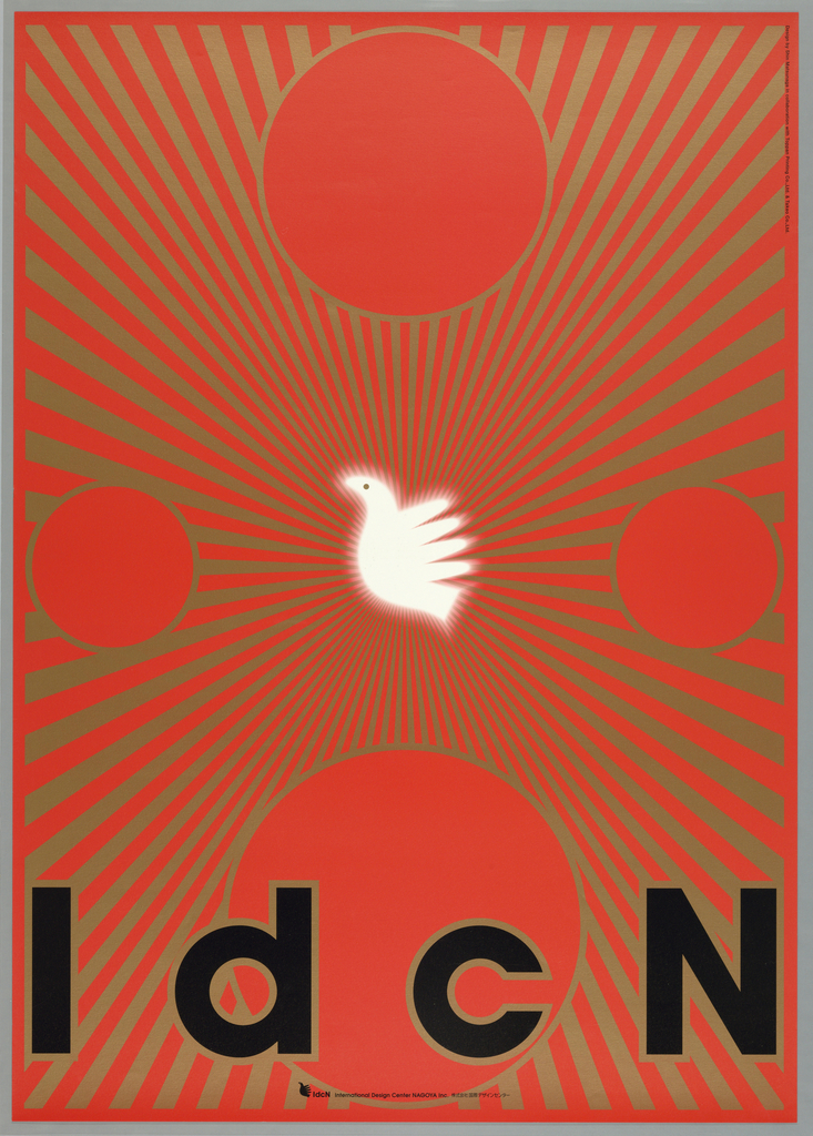 """In center, logo of IdcN, profile view of bird, in white with glowing effect produced by blurring the edges on red background.  Gold rays diverging from central logo to all edges of poster.  Four circles of different size in gold outline at each side of poster with two of the larger ones at top and bottom and two of equal size at left and right.  """"IdcN"""" across bottom in black with gold outline."""